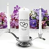 Personalized Unity Wedding Candle Set - Personalized Wedding Candle Set - Includes Stand- Two Lives Two Hearts