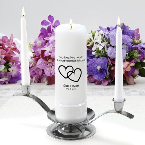 Personalized Unity Wedding Candle Set - Personalized Wedding Candle Set - Includes Stand- Two Lives Two Hearts - Personalized Wedding Unity Candle