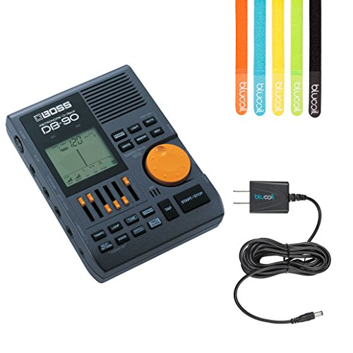 Boss DB-90 Dr. Beat Metronome - INCLUDES - Blucoil Power Supply Slim AC/DC Adapter for 9 Volt DC 670mA AND 5 Pack of Cable Ties by blucoil