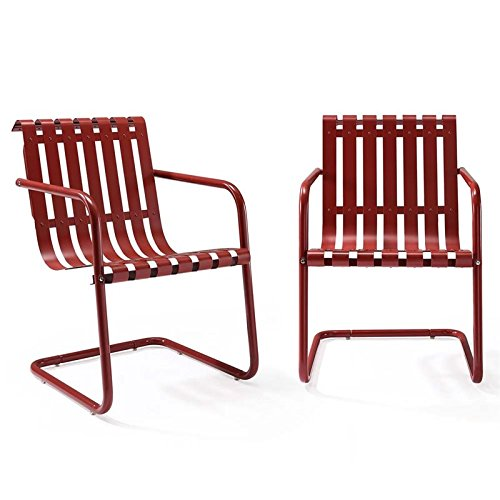 Crosley Furniture Gracie Retro Metal Outdoor Spring Chair - Coral Red (Set of ()