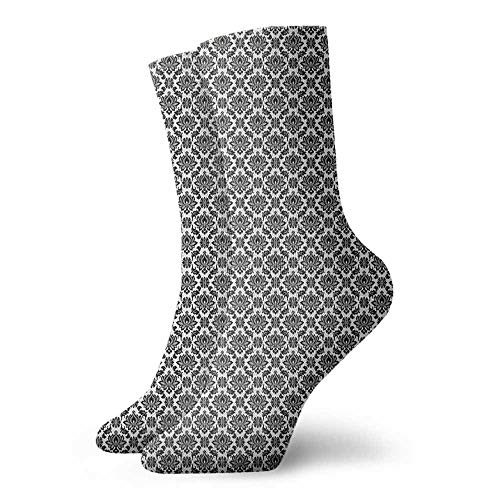 Sports socks Baroque Monochrome Floral Arrangement with Victorian Inspirations Leaves Swirls Sports, travel