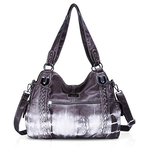 Angel Barcelo Roomy Fashion Hobo Womens Handbags Ladies Purse Satchel Shoulder Bags Tote Washed Leather Bag Grey ()