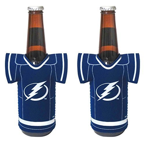 - NHL Hockey 2014 Team Color Logo Bottle Jersey Holder Koozie Cooler 2-Pack (Tampa Bay Lightning)