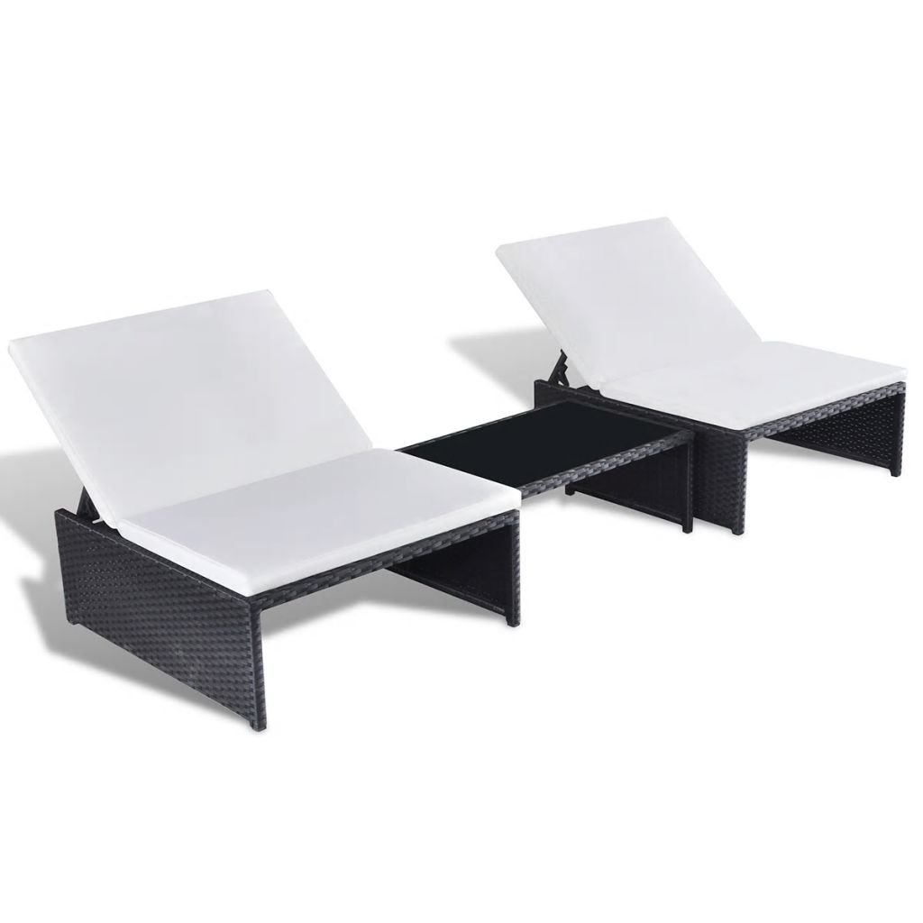 Black Festnight Sunlounger Set 2Seater 5 Pcs Outdoor Swimming Pool Rest Area for Sunbathing and Rest Poly Rattan