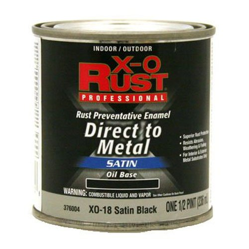 True Value XO18-HP Satin Black Premium X-O Rust Interior/Exterior Anti Rust Enamel, 1/2-Pint ()