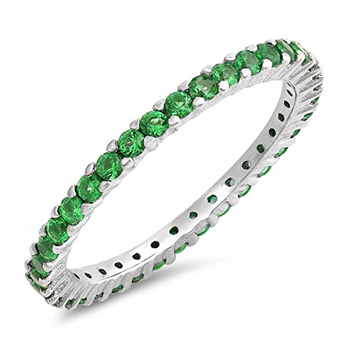 Blue Apple Co. Full Eternity Stackable Wedding Band Ring Simulated Green Emerald CZ 925 Sterling Silver,Size-8
