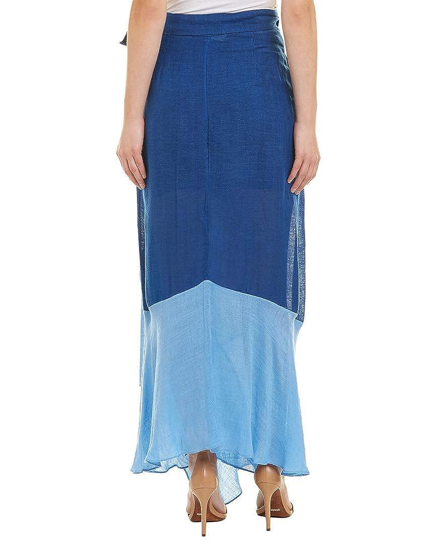 3983dff9e5 Amazon.com: Diane von Furstenberg Womens Draped Wrap Linen-Blend Beach Skirt,  M, Blue: Clothing