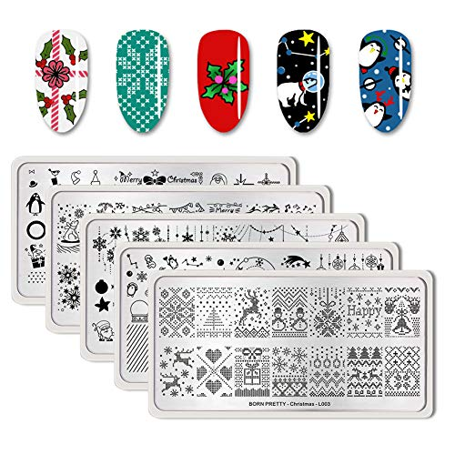 BORN PRETTY Rectangle Nail Stamping Plate Nail Stamp Image Plate manicuring Series 5PCS