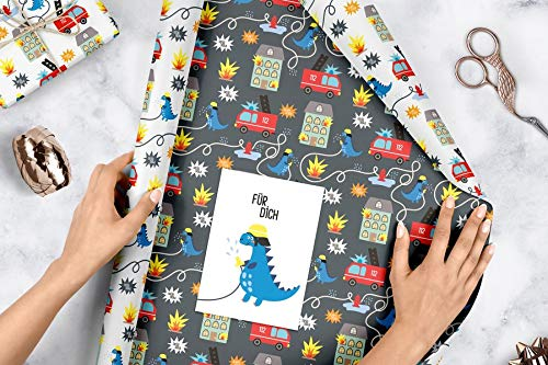 Geschenkpapier-Set für Kinder: Feuerwehr/ Dinosaurier: 4x Einzelbögen + 1x Postkarte Unbekannter Einband – 21. August 2018 dabelino B07GRRGWGR Baby Alben