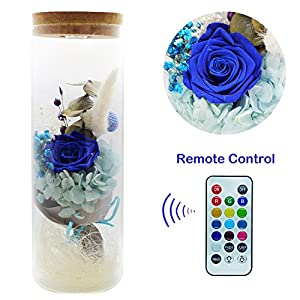 ZRYun Preserved Fresh Flower - Forever Blue Rose in a Glass with 13 Color LED Lights, Glowing Immortal Flower with Remote Control, Best Gift for Valentine's Day Wedding Anniversary Birthday 17