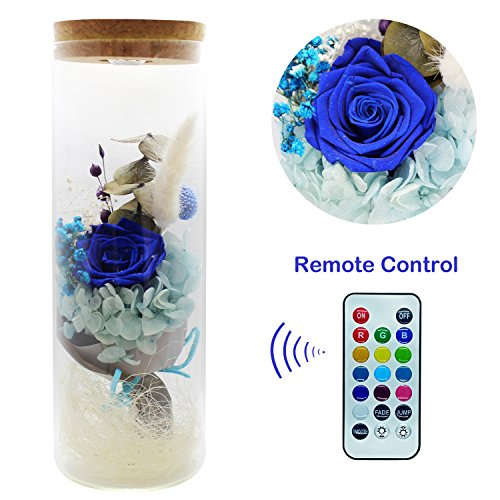 Glowing Rose - ZRYun Preserved Fresh Flower - Forever Blue Rose in a Glass with 13 Color LED Lights, Glowing Immortal Flower with Remote Control, Best Gift for Valentine's Day Wedding Anniversary Birthday
