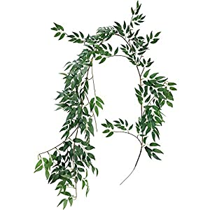 Supla 5.7 Feet Artificial Hanging Willow Leaves Vines Twigs Fake Silk Willow Plant Leaves Garland String in Green for Indoor/Outdoor Wedding Decor Jungle Party Supplies Greenery Crowns Wreath 10