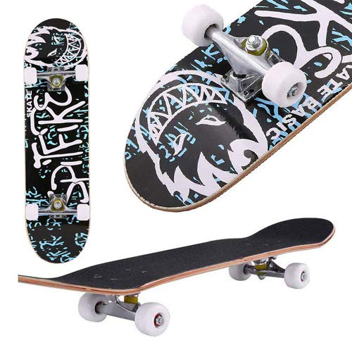 "Aceshin Skateboard, 31"" x 8"" Complete PRO Skateboard, 9 Layer Canadian Maple Wood Double Kick Tricks Skate Board Concave Design for Beginner,Gift for Kids Boys Girls Youths (6 - Letter)"