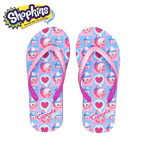 Shopkins Girls Flip Flops with Jelly Straps in Cupcake, Size 11/12