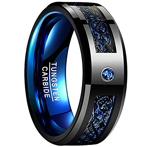 NUNCAD 8mm High Polished Finish Tungsten Wedding Ring Blue Carbon Fiber and Black Celtic Dragon Inlay Size 9