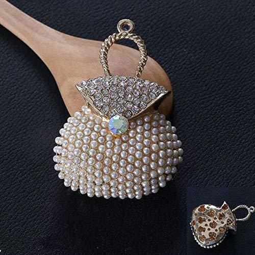 - White Pearl Handbag Keychain Jewelry Fashion Crystal Metal Key Ring Gift Purse Charm Handbag Pendant Lady Gifts