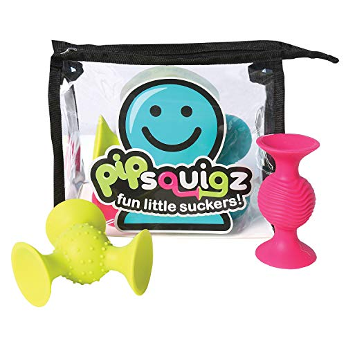 Fat Brain Toys PipSquigz 6 Piece Set with Storage Bag - Exclusive Rattle Suction Toy Building Set with Bonus Carrying Case - BPA-Free