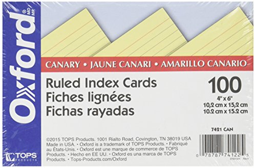 Oxford Colored Ruled Index Cards Canary 100/ pack (4