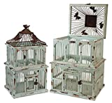 Rusty Metal and Teal Weathered Wood Decorative Bird Cages, Set of 2