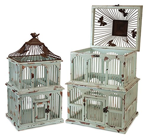 Rusty Metal and Teal Weathered Wood Decorative Bird Cages, Set of 2 by MLR