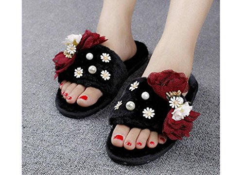 Beauqueen Femmes d'automne et d'hiver Keep Warm Daisy Bow Tie Plush Chaussures plates Trois couleurs Slippers Sandales , wine red bow black bottom plush , 38