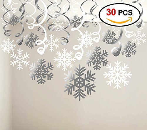 Gift Wonderland Holiday Winter (Konsait Snowflake Swirls Decoration(30pcs), Merry Christmas Snowflake Hanging Swirls Garland Foil Ceiling ornaments for Xmas Winter Wonderland Holiday Party Decor Supplies,Already Assembled)