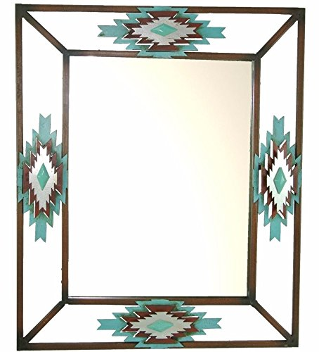 DeLeon Collections Rustic Aztec Layered Diamond Turquoise Mirror - Wrought Iron Frame - Rectangular