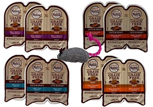 (Nutro Perfect Portions Grain Free Cuts in Gravy and Pate Cat Food 4 Flavor 8 Can Variety with Toy Bundle, (2) Each: Turkey Liver, Chicken, Salmon, Tuna (2.64 Ounces))