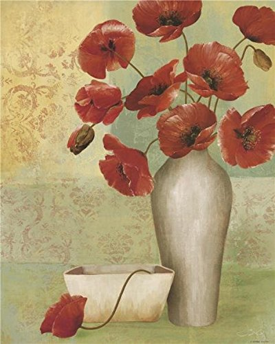 のポリエステルキャンバス地の油絵Poppies In The花瓶」、サイズ: 8x 10インチ/ 20x 25cm、この模倣アート装飾印刷は、フィットのパウダー部屋装飾、ホームとギフトの商品画像