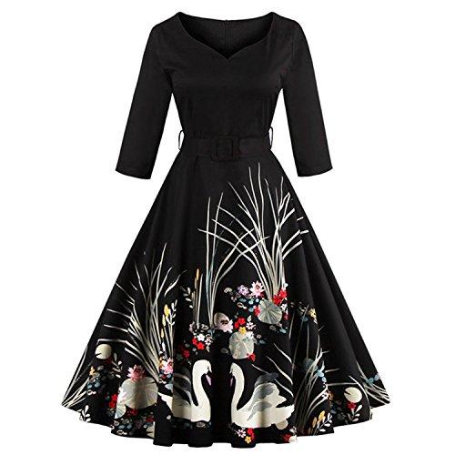 ARCQ New black Vintage dress 3/4 sleeve swan print robe Female Ball Gown Party Retro DressesDark (Dillards Robes)