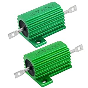 25W 47K Ohm Green Aluminum Housed Wirewound Resistors 2 Pcs