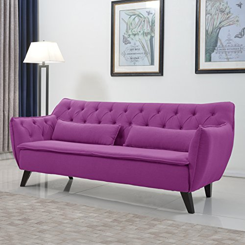 Mid Century Modern Tufted Linen Fabric Sofa in Colors Dark Grey, Light Grey, and Purple (Purple)