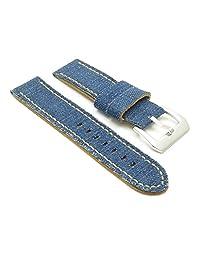 StrapsCo 20mm Blue Vintage Distressed Denim Watch Strap