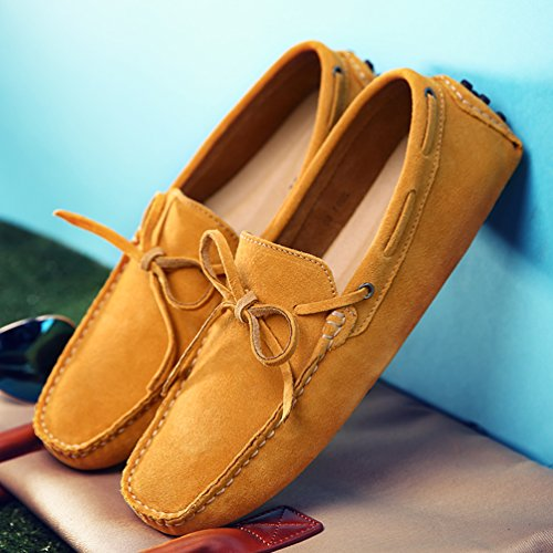 Moccasins Loafers Western Casual SUNROLAN Men's Suede Penny Style Bow Yellow Leather Accent Darnell rPzPngwYq