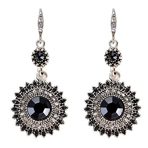 JOYID Vintage Sun Flower Dangle Earrings Full Crystal Bohemian Ethnic Style Drop Earrings for ()