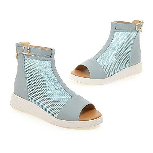 AgooLar Mujeres Cremallera Puntera Abierta Mini Tacón Cuero Sólido Sandalia Azul
