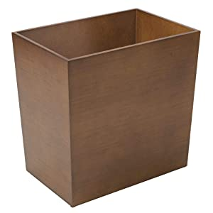 mDesign Rectangular Narrow Wood Trash Can Wastebasket, Small Garbage Container Bin for Bathrooms, Kitchens, Home Offices, Craft Rooms - Bamboo Veneer, Brown