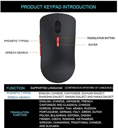 Color : Black Support Intelligent Translation /& Voice Commands V6 2.4GHz 1200DPI 7-Keys Wireless Optical Mouse with Micro USB Receiver
