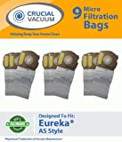 9 Eureka AS Micro Allergen Vacuum Bags Designed To Fit Eureka AS Airspeed Series Upright Vacuums; Compare To Part # 66655, 68155-6, 68155, 67726; Designed & Engineered By Crucial Vacuum