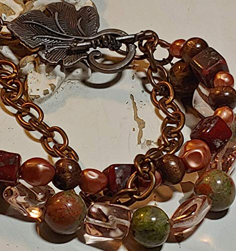 Jasper, Tigers eye, glass and Czech pressed glass beads triple stranded link bracelet