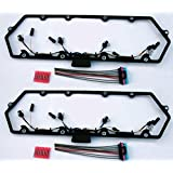98-03 Powerstroke 7.3L Valve Cover Gasket w/Fuel Injector Glow Plug Harness Pair