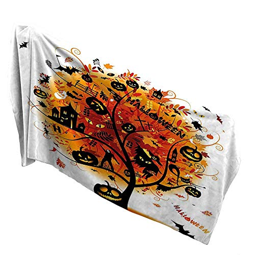 (QIN-Home Made of 100% Premium Cotton 31.5 x 63 INCH,Halloween Decorations Distressed Horror Tree with Mystic Halloween Elements Skull Devil Scary Design Orange Black. Fast Drying,)