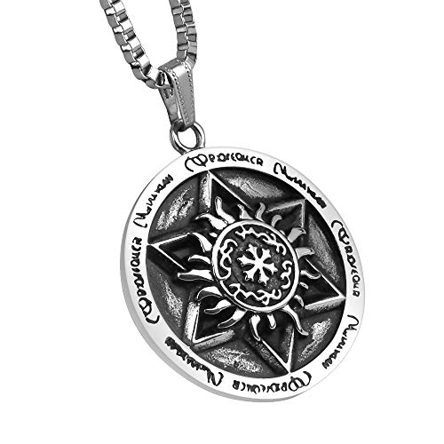 Amulet Seal Pendant - HELNAL Seal Solomon Talisman Pendant Necklaces Stainless Steel David Hermetic Six-Pointed Star Necklaces Gift for Men Women, 24 Inch Chain