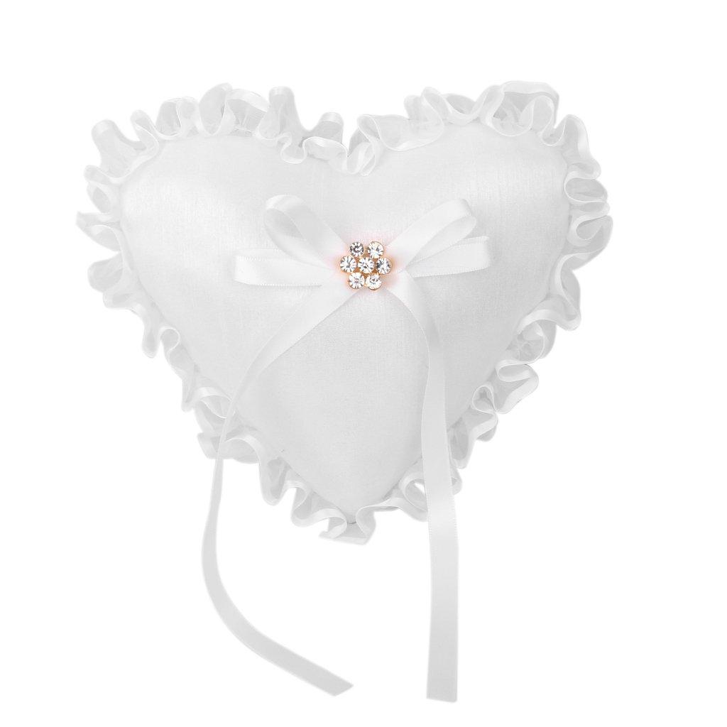 Porteur Anneau de Mariage Coussin Oreiller Forme de Coeur Blanc Générique USA15017314