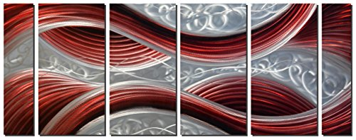 (Handmade Abstract Metal Wall Art with Soft Color, Large Scale Decor in Dark Red Line Design Metal Art, 3D Artwork for Indoor Outdoor Wall Decorations, Decorative hanging in 6-Panels Measures 24