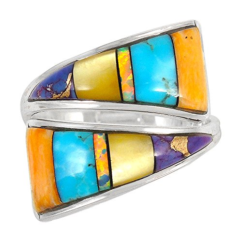 Turquoise Ring Sterling Silver (Pick Color) (Multi-Gems 01, 6) ()