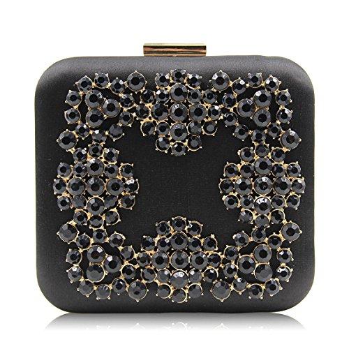 Flada Satin Box Evening Clutch for Women Bridesmaid Handbag Purse for Wedding Black Black