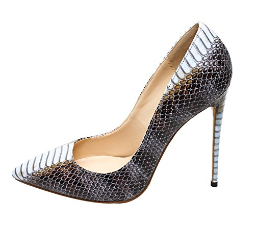 Guoar Womens Big Size Pointed Toe Stiletto Snakeskin High Heels Pumps Shoes Size 5-12 US A-brown and Blue O5usw7