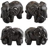 SUNYIK Elephant Statue Wood Carved Figurine Decor Home Guardian Pack of 2