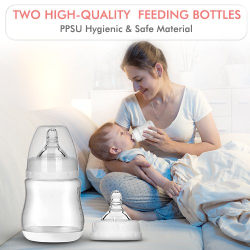 Double Breast Pump – Electric Breast Pump with 4 Modes and 16 Adjustable Suction Levels, USB Charging Quiet Breast Pump Kit with Two Hygienic Milk Bottles, Hands Free, Pump Anytime Anywhere by Babytec (Image #6)
